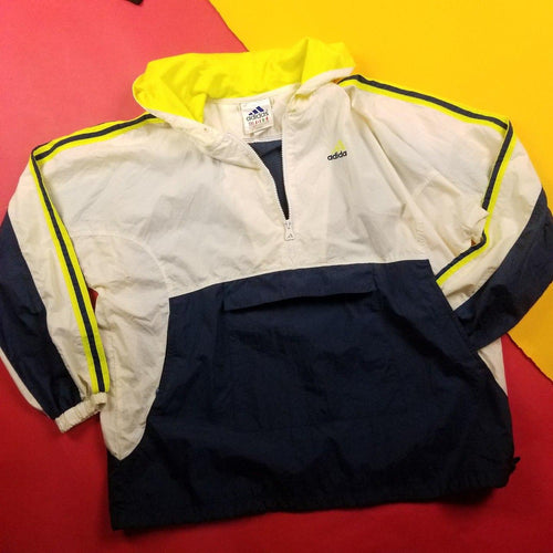 Vintage 90s Adidas Yellow and Navy Anorak Mens sz XL