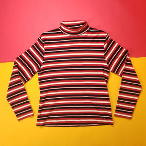Vintage Y2K Tommy Hilfiger Black and Red Striped Turtleneck Womens sz L