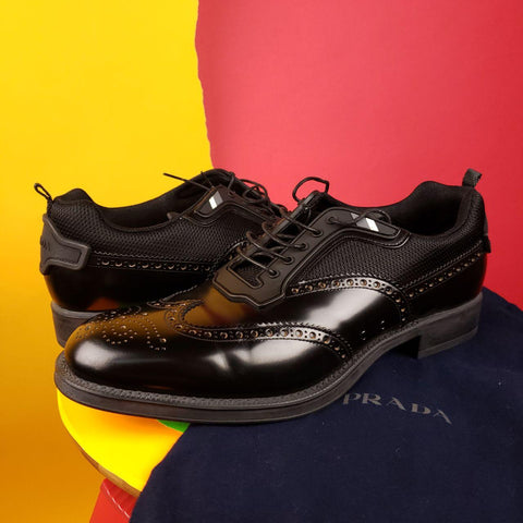 Prada Black Wingtip Sneakers Mens sz 10