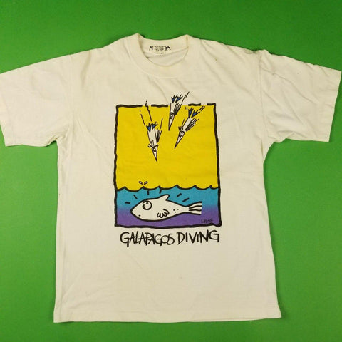 "Vintage White ""Galapagos Diving"" Graphic T-Shjrt Mens sz L"