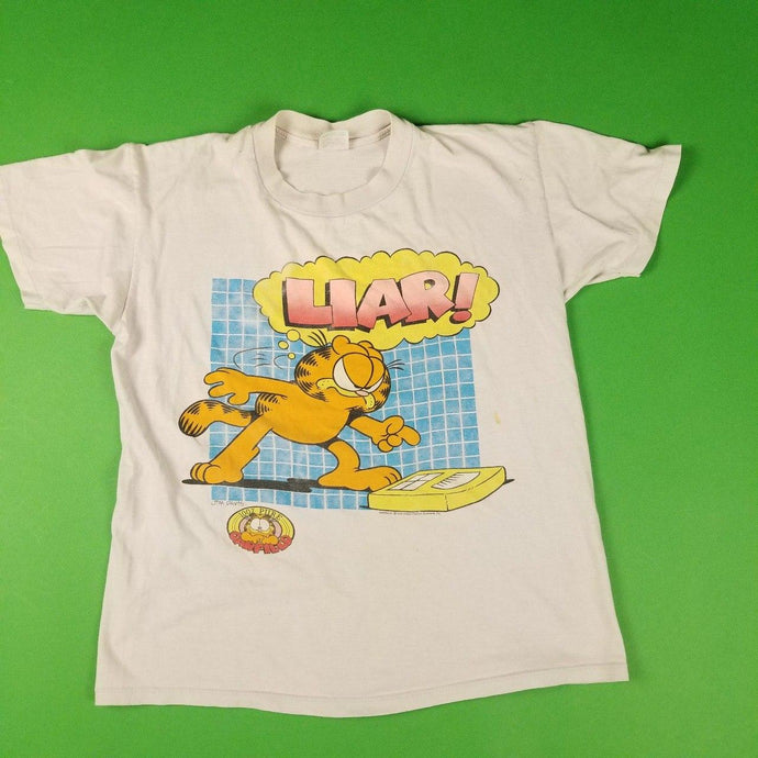 Vintage 70s Made In USA Garfield White Graphic T-Shirt Womens sz L