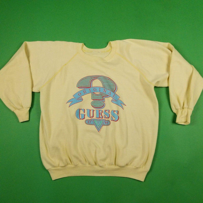 Vintage 90s Guess Yellow Graphic Sweater Womens sz L.