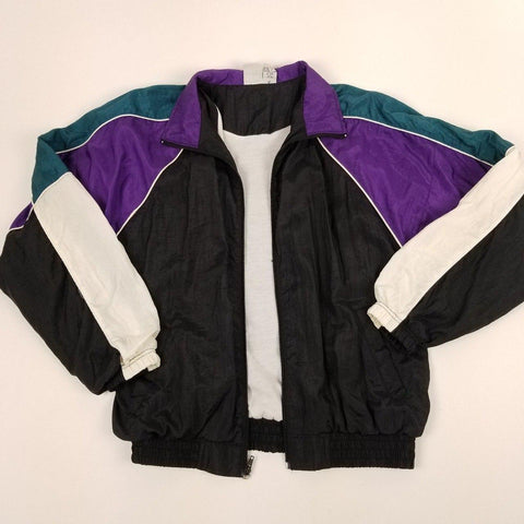 Vintage 90s Black and Purple Colorblocked Windbreakers Womens sz M
