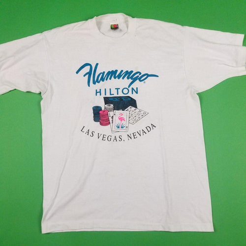 Vintage Flamingo Hilton Las Vegas White Graphic T-Shirt Mens sz L