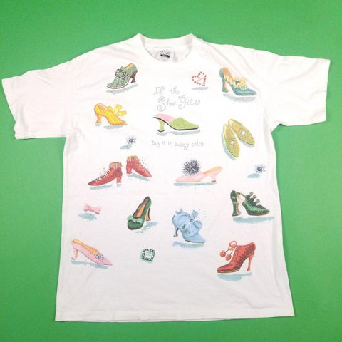 Vintage 90s Made in USA Shoes Graphics White T-Shirt Womens sz XL