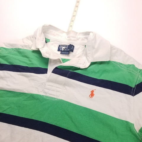 Vintage Y2K Polo Ralph Lauren Green Striped L/S Rugby Shirt Mens sz L