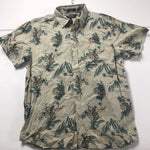 Eighty Eight Platinum Tan Tiger Hawaiian Button Up Shirt Mens sz L