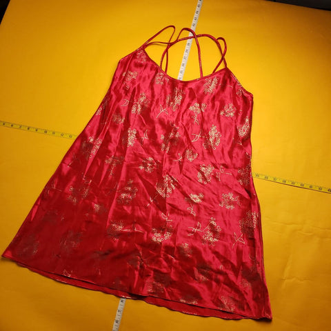 Vintage Y2K Red Floral Silk Night Gown Womens sz L