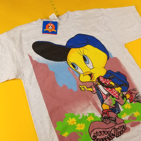 Vintage 90s NWT Looney Tunes Tweety Bird Gray T-Shirt Mens sz XL
