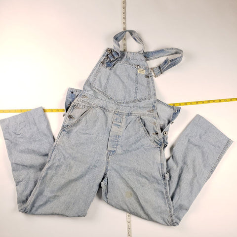 Vintage 90s Made in USA Guess USA Light Blue Denim Overalls Mens sz S