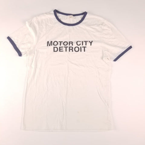 Motor City Detroit Spellout White T-Shirt Mens sz S