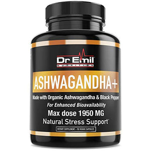 ASHWAGANDHA+ Max Dose 1950mg Organic Ashwagandha Capsules w/Black Pepper for Absorption - Stress Relief, Mood Boost & Energy (90 Veggie caps)