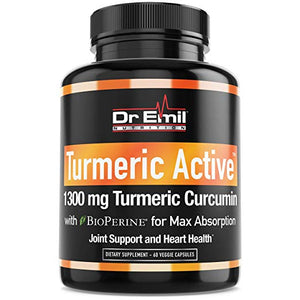 Turmeric Active - Organic Turmeric Curcumin with BioPerine - Vegan Supplement for Joint Support & Pain Relief (95% Curcuminoids - Max Potency)