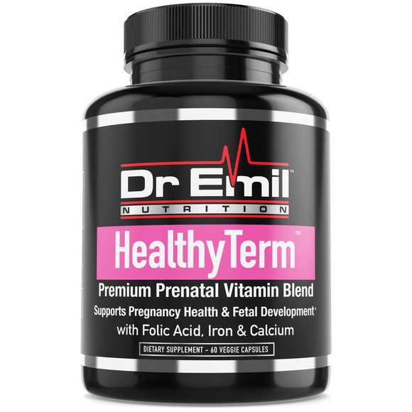 Healthy Term Prenatal Vitamins for Fetal Development & Pregnancy Health with Folic Acid, Iron, Calcium & Antioxidants - Non-GMO, Gluten & Dairy Free