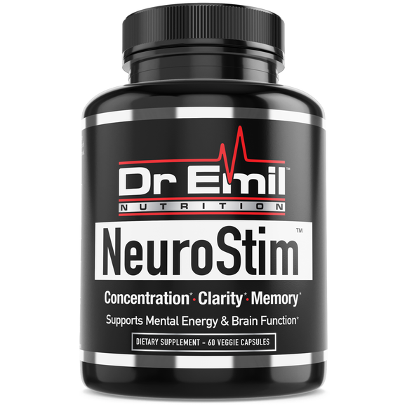 NeuroStim - Nootropic Brain Supplement for Memory, Focus, Clarity & Concentration with Huperzine A, DMAE & Glutamic Acid (60 Veggie Capsules)