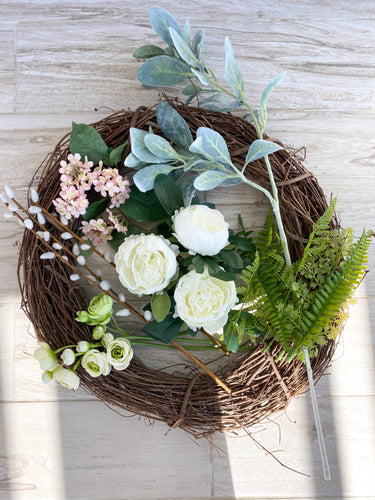 White Peony Wreath Kit