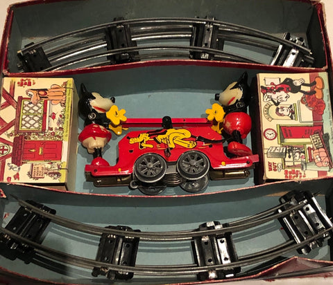 Mickey Mouse Tin Toy Mechanical Handcar / Track in Original Box