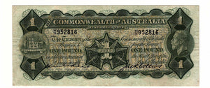 1926 Commonwealth of Australia  Kell /  Collins 1 Pound Banknote