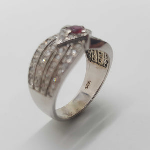 14ct White Gold Decorative Diamond and Ruby Ring
