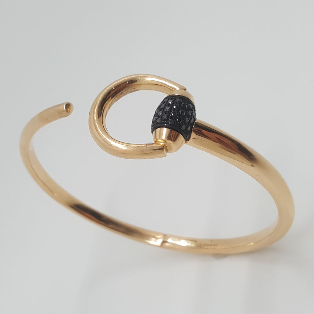 Gucci 18ct Rose Gold & Black Diamond Horsebit Bangle