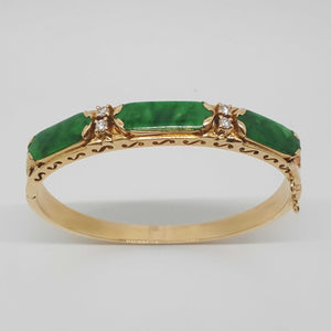 18ct Yellow Gold Jade & Diamond Bangle