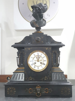 Substantial Marble & Cast Bronze Mantle Clock