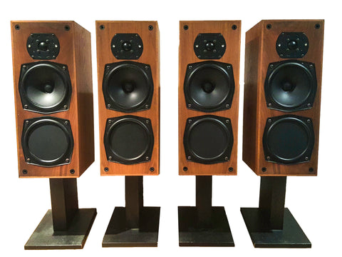 Vintage Mid Century 1977 Monitor Audio Teak Floor Speakers Model R152/1208 (Set of four)