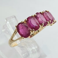 18ct Yellow Gold Oval Cut Ruby Row Ring