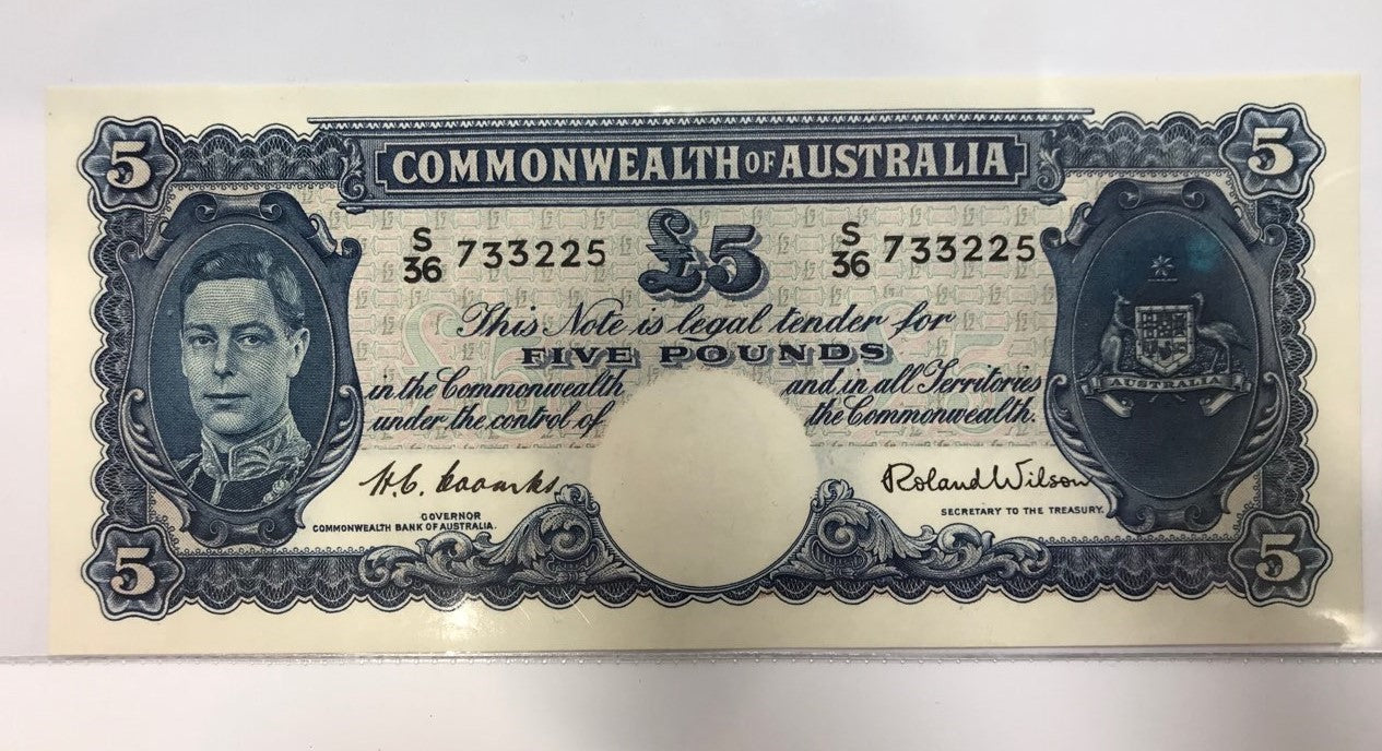 1952  C of A Coombs /  Wilson 5 Pound Banknote