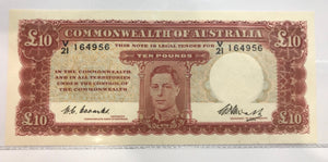 1949 C of A Coombs  / Watt 10 Pounds Banknote