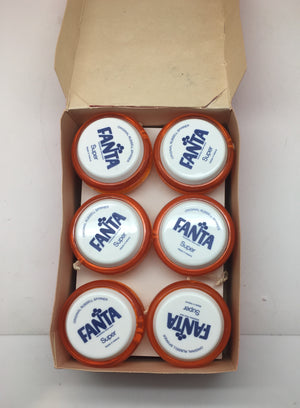 Yo Yo's - Russell Coca Cola Fanta Yo Yo's Box of 12 NEW OLD STOCK