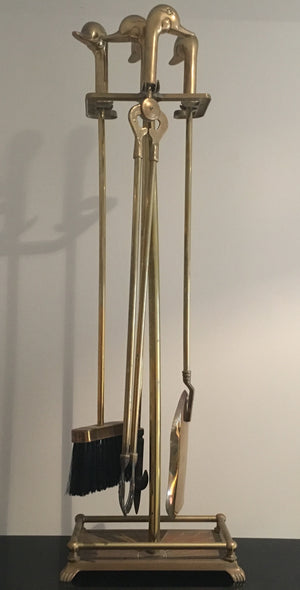 Solid Brass Fire Tool set with Duck Head Handles