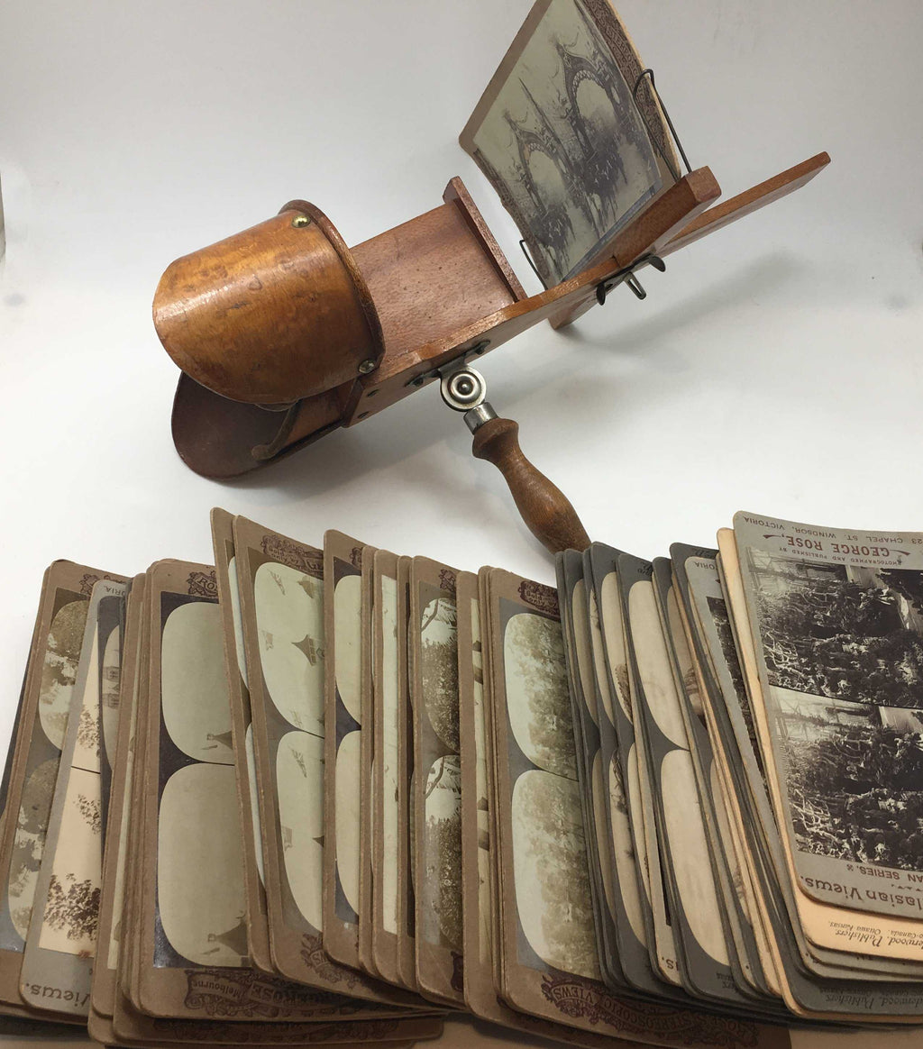 Antique Maple Stereoscope with large Collection of Cards