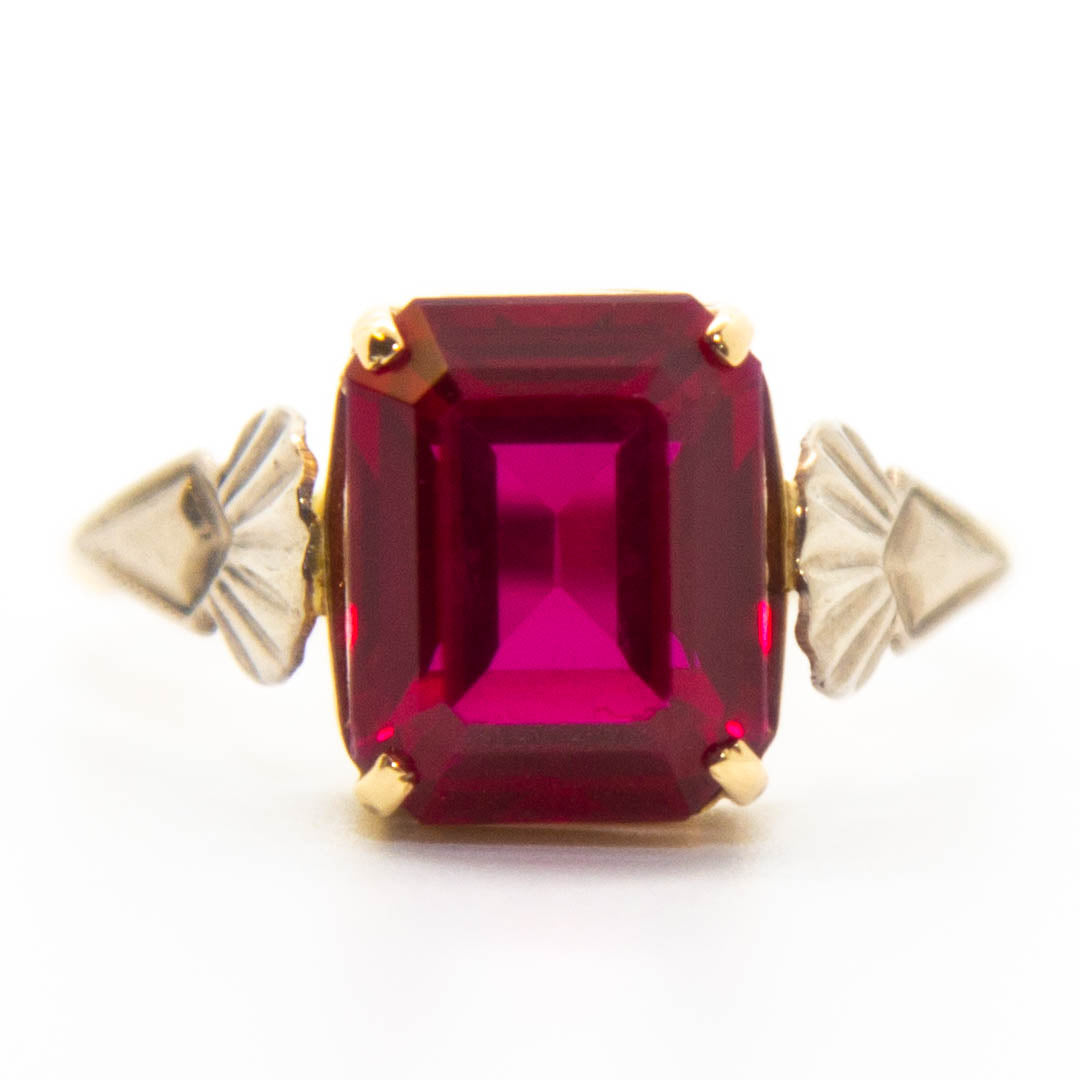10ct Yellow Gold Created Ruby Ring