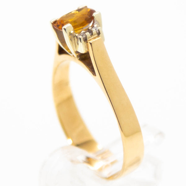 9ct Yellow Gold Oval Citrine & Diamond Ring