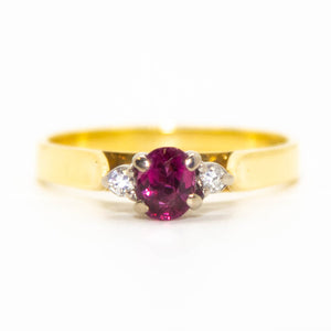 18ct Yellow Gold Tourmaline & Diamond Ring