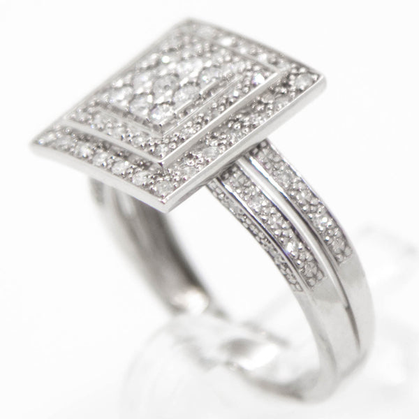 9ct White Gold Diamond Double Halo Split Band