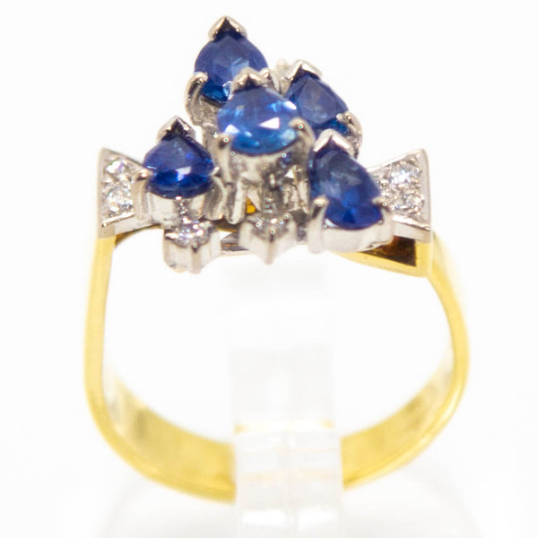 18ct Yellow & White Gold Sapphire & Diamond Dress Ring