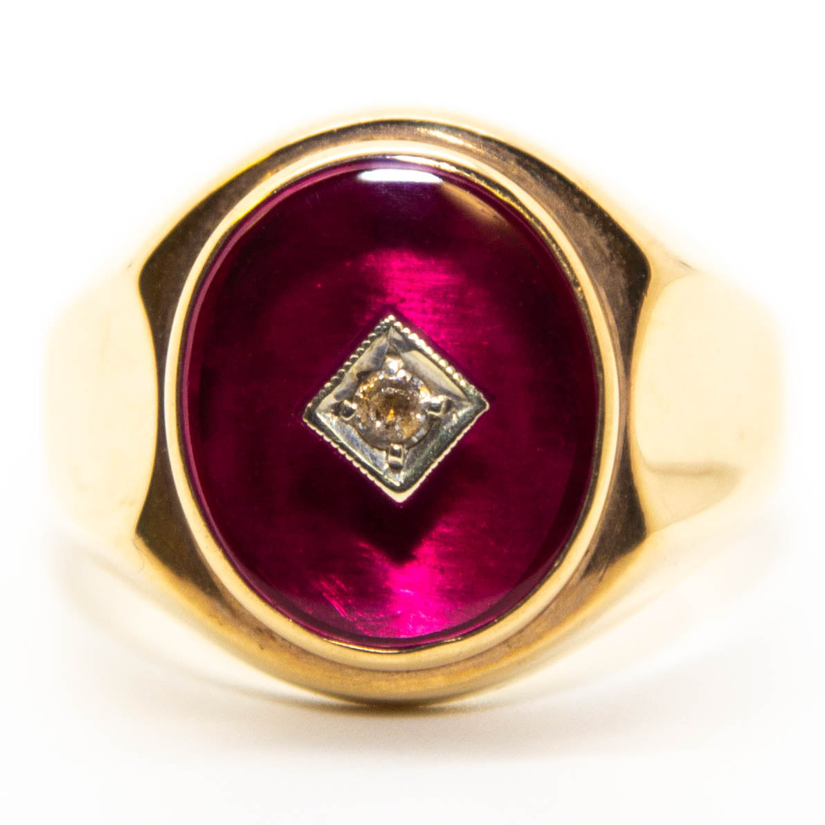 9ct Yellow Gold Synthetic Ruby & CZ Signet Style Ring