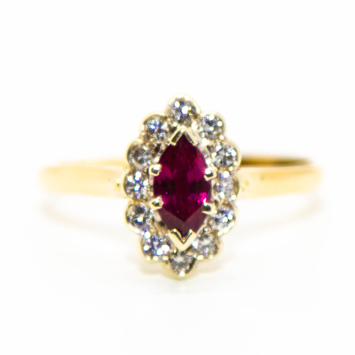 14ct Yellow Gold and Palladium Ruby and Diamond Ring
