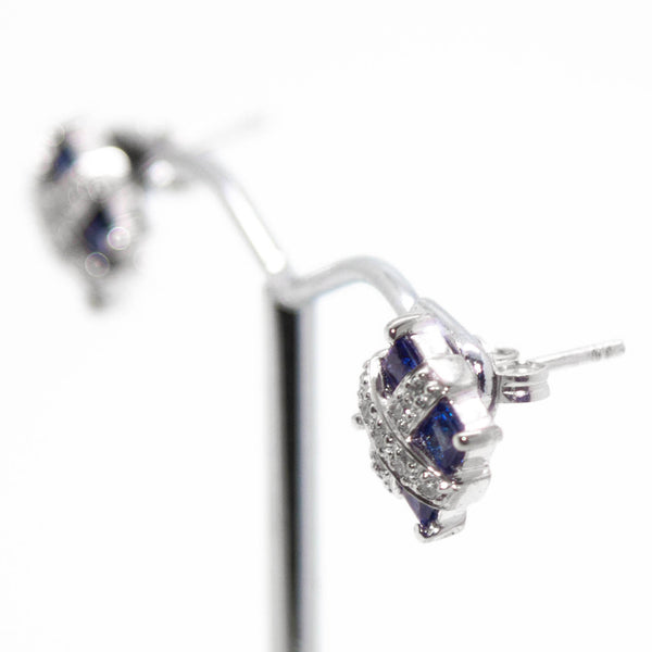 18ct White Gold Sapphire and Diamond Stud Earrings