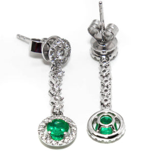 18ct White Gold Emerald & Diamond Drop Earrings