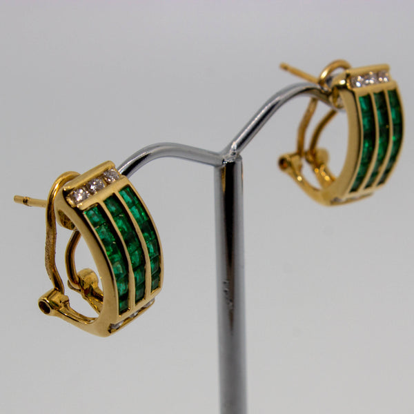 18ct Yellow Gold Emerald & Diamond Earrings