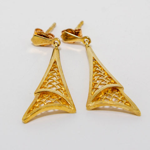 9ct Yellow Gold Triangle Crosshatch Drop Earrings