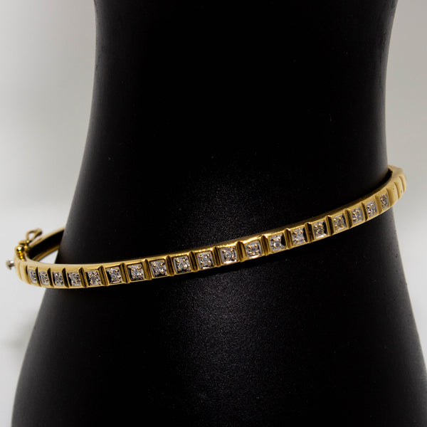 18ct Yellow Gold Bangle White Gold Set Diamonds