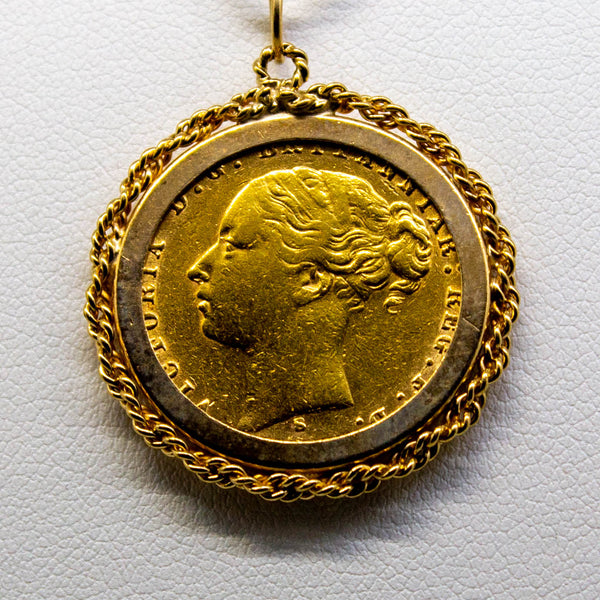 1874 English Sovereign Pendant