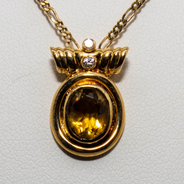 18ct Yellow Gold Citrine & Diamond Enhancer