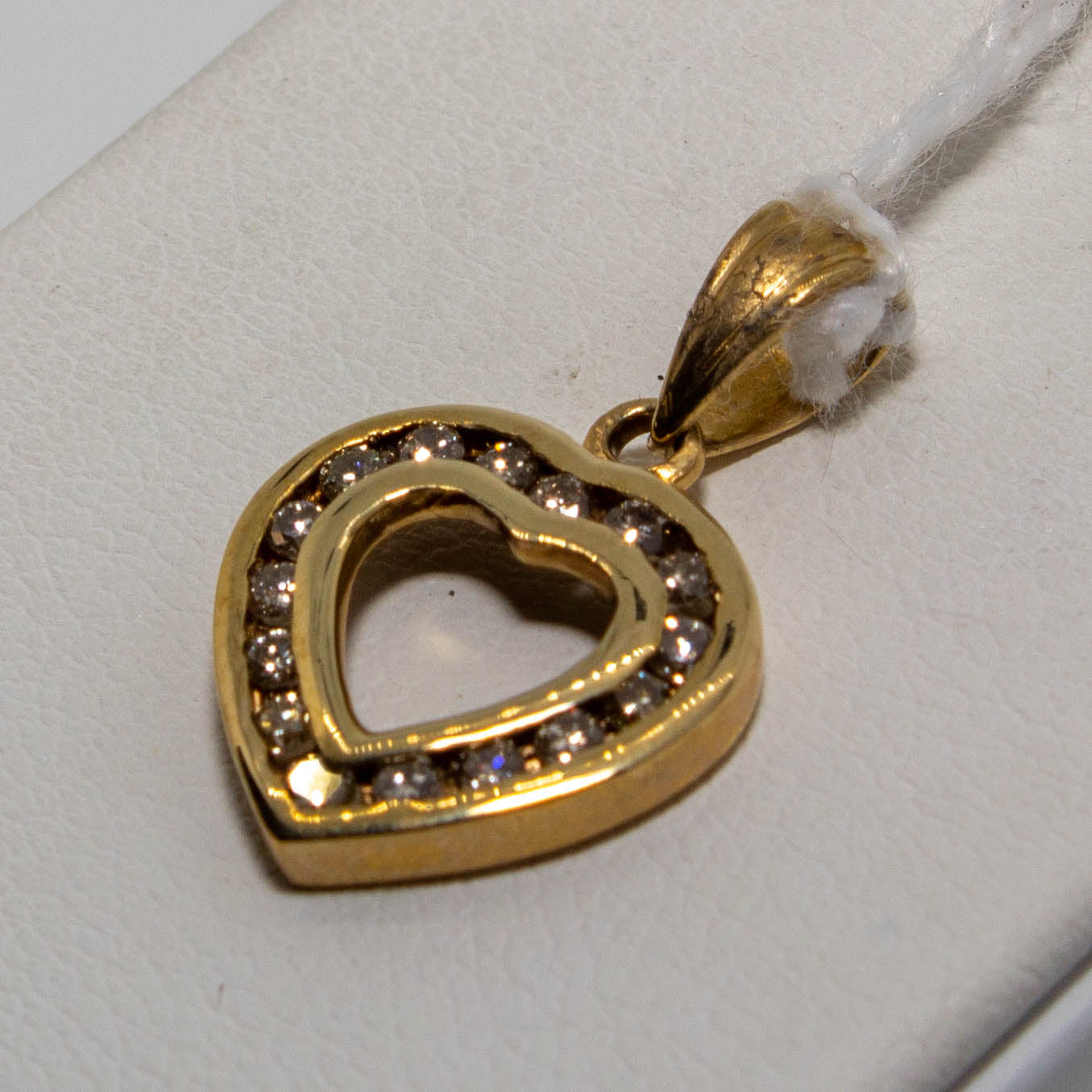 9ct Yellow Gold Channel Set Diamond Heart Pendant