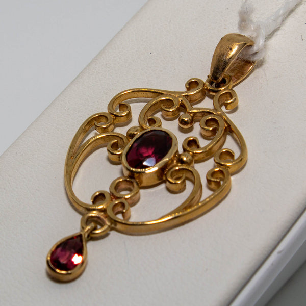 9ct Yellow Gold Pink Garnet Filigree  Pendant