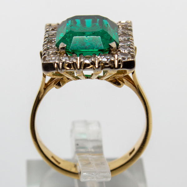 18ct Yellow Gold Emerald & Spinel Ring